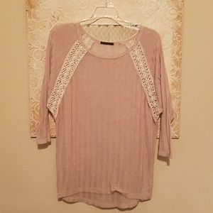 Clearance - Staccato /Ribbed Blouse w/ Lace detail
